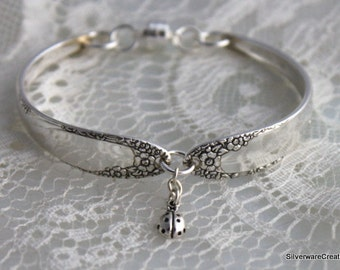 Vintage Silverware Bracelet Jewelry Spoon Bracelet - .925 Sterling Magnetic Clasp - Sterling Silver LADYBUG CHARM  English Garden 1949