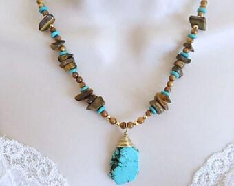 Tiger's Eye Necklace set, Howlite Necklace set, Beaded Necklace set, Semi-Precious stone Necklace, Shell necklace, Boho Necklace