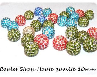 10 mm Metal beads & rhinestone [Crimson] x 1