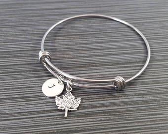 Maple Leaf Bangle Bracelet- Leaf Charm Bracelet - Adjustable Bracelet Bangle - Maple Bracelet - Initial Bracelet - Gift for Mom - Canadian