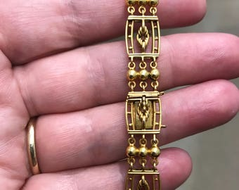 Antique Edwardian 15-carat gold solid gate-link bracelet from about 1910