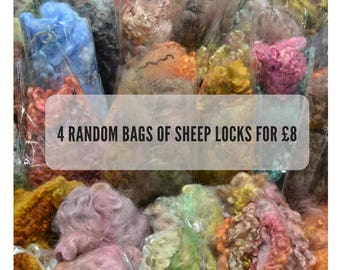 sheep locks 4oz, sale, spinning fibre, nunofelting, felting, doll hair, wool locks