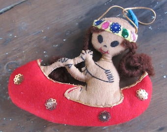 Felt and Sequin Native American Indian Girl in Red Canoe Christmas Tree Ornament - Vintage and Hand Made - Two-Sided