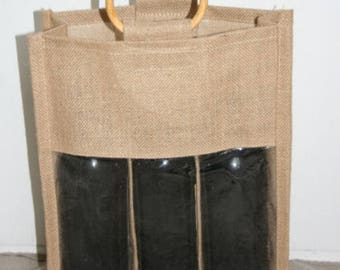 Bag in Burlap for 3 bottles