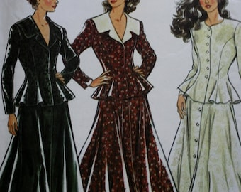 New Look 6109, Fitted Flared Jacket Sewing Pattern, Flared Full Skirt, UNCUT