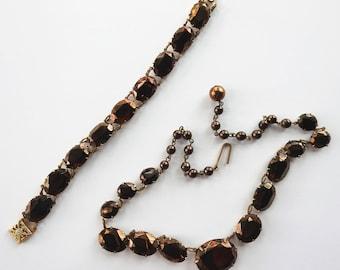 Vintage Bronze Glass Mourning Necklace and Bracelet
