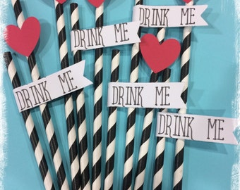 Alice in wonderland party straws