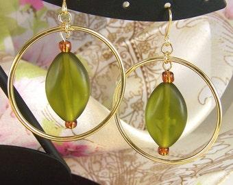 Textured Olivine Hoop Earrings