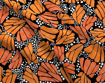 Orange Monarch Butterfly Fabric - Orange Monarch Butterfly By Thestylesafari - Monarch Butterfly Cotton Fabric By The Yard With Spoonflower