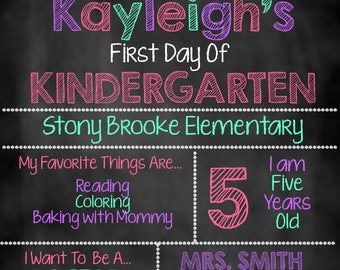 Girl First Day of School Sign, First Day of School Chalkboard