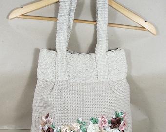 Summer knitted cotton bag. Handmade.