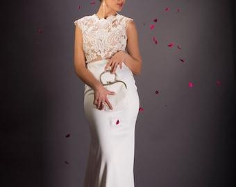 Vintage Wedding dress, Ivory wedding dress, Lace  Bridal dress, Open back Bridal dress