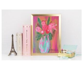 Wall Art Print, Abstract Pink Flowers Art Print