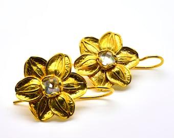 Flower Earrings, Dangle Earrings, White Zircon Earrings, BLOSSOM, Plating 18k Yellow Gold Earrings, Gemstone Earrings