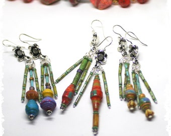 Beaded Fringe Earring Dangles Rustic Boho Hippie Gypsy Tribal Jewelry Artisan Gift for Her  - Choose Color