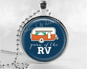 CAMPER Necklace, Camper Pendant, Camper Jewelry, Happy Camper, Glamping, RV, Camping, Vintage Camper, Canned Ham Trailer, Queen of the RV
