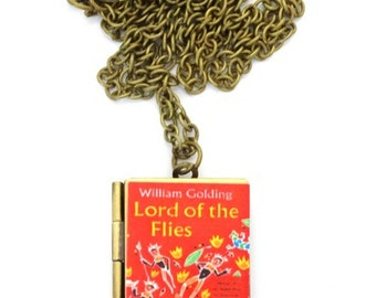 Lord of the Flies book locket & Gift bag, William Golding, Necklace