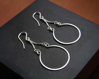 Silver Teardrop Earrings Silver Hoops Sterling Silver Hoop Dangles Arabesque Earrings Open Circle Earrings Hammered Wire Jewelry