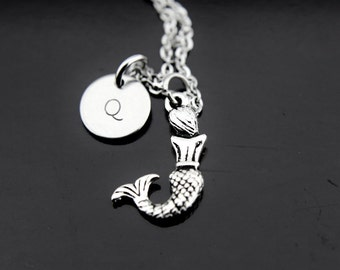 Fairytale Gift, Mermaid Necklace, Silver Mermaid Charm Necklace, Fantasy Jewelry, Mermaid Charm Necklace, Personalized Necklace,