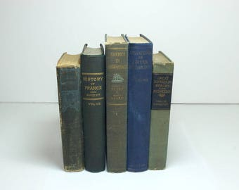 Antique Books Instant Library Decorating Set of Five Faded Blues And Greens