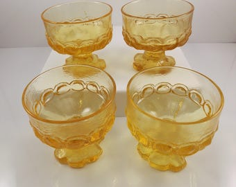 Franciscan Tiffin Madeira Champagne Coupe Sherbet Glass Cornsilk Yellow Set of 4