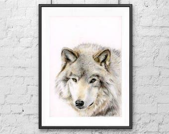 Mr Wolf Art Print - digital version, Wolf, Poster, wall décor, Print, room décor, Printable wall art, digital art, coloured pencils