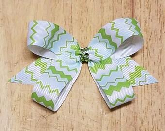 Small Chevron Hair Bows - Apple Green/Baby Blue Chevron Hair Bows
