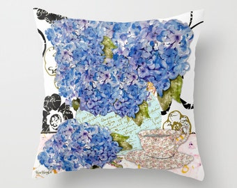 Indoor pillow cover with pillow insert, Indoor Decorative Pillow Cover,  Cape Cod Hydrangea and Tea