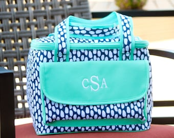Monogrammed Navy and Teal 9 Can Cooler Bag,Monogrammed Tide Pool Picnic Bag,Personalized Embroidered Beach Pool Insulated Bag,Navy Dots