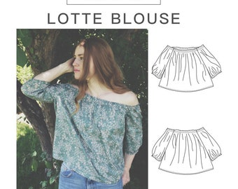 Lotte Blouse Off-The-Shoulder PDF Womens Sewing Pattern Sizes 0-12