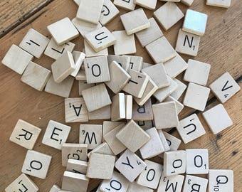 Wooden Scrabble tiles x 90
