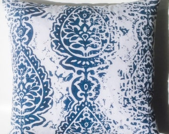Navy Blue Distressed Ikat 18x18 Pillow Cover