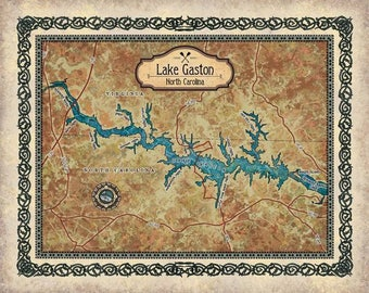 Lake Gaston, lake gaston map, lake gaston NC, lake gaston wall art, lake gaston art, lake gaston map art, lake life, lake house, lake house