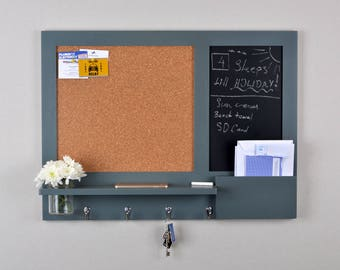 Chalkboard and Cork Board - Noticeboard - Mail Organiser - in Down Pipe Grey - Pre order - Made To Order