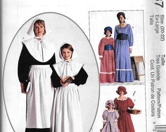 McCall's 2337 Pioneer Puritan Early American Primitive Farm Dress & Apron Costume Sewing Pattern UNCUT Plus Size 20, 22 XL