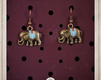 ELEPHANT earrings bronze elephants of India BOB014