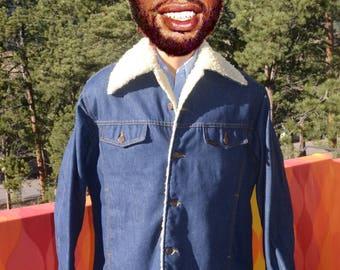 vintage 70s DENIM jean jacket shearling roebucks western cowboy coat faux sheepskin 46 Large XL