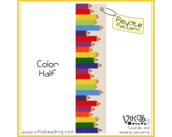 Colorhalf - Peyote Bracelet Pattern for cuff bracelet - INSTANT DOWNLOAD pdf -Discount codes are available
