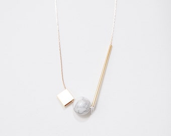 Gold Plated Minimalist Necklace. Marble Stone Jewelry. Delicate Necklace. Geometric Gold Necklace. Bar Necklace. Spheres and Cubes — 003