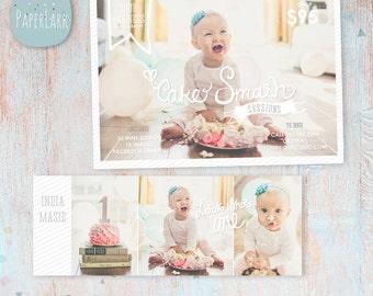 Cake Smash Bundle - Marketing Board 5x7 and Facebook Timeline - Photography Marketing - Photoshop Templates - IJ002 - INSTANT DOWNLOAD