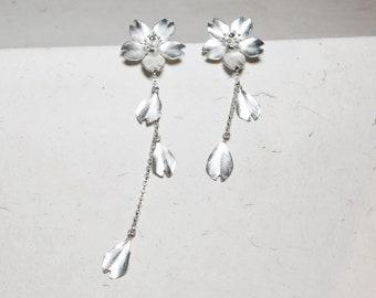 Season-Cherry Blossom-Sakura-Silver Earrings- single petals-dangling style/ handmade,dangle & drop earrings
