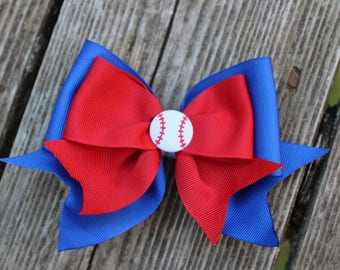 Chicago Cubs Baseball Hair Clip - Blue and Red Hair Bow Clip