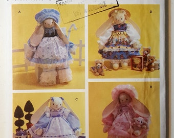 """18""""/45.5 cm Bunny Stuffed Toy and Clothes Simplicity Crafts 7006 UNCUT Vintage Pattern by Faith Van Zanten 