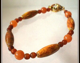 Bracelet - Hand Painted Wood Beads, Red Aventurine and Natural Bone Beads Bracelet, Earth Tones Bracelet, Autumn Colors Jewelry