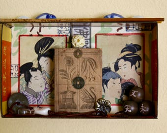 Asian Assemblage Box - Found Object Assemblage