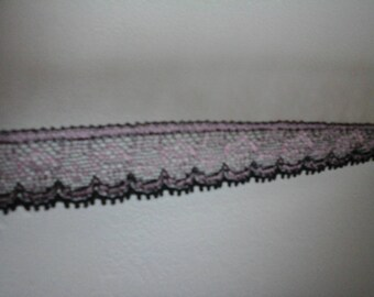 Pink and black elastic lace Ribbon