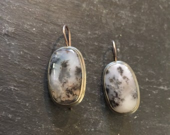 Moss Agate Leverback Earrings