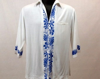 Vintage 60s Keone Hawaiian Shirt / White Linen / Blue Floral Border / Silk Screen / Zipper Front / Short Sleeves  / Large / Cotton
