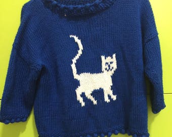 Blue Knit Cat Sweater