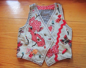 OOAK Embellished Vintage Denim Vest HOLIDAY - Fully Lined - Upcycled Repurposed Recycled Clothing